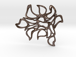 Abstract Flower Pendant  in Polished Bronze Steel