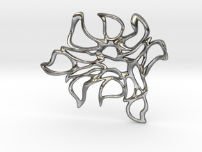 Abstract Flower Pendant  in Polished Silver