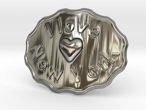 I Love New York Belt Buckle in Fine Detail Polished Silver
