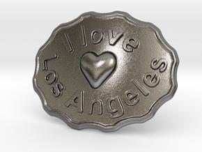 I Love Los Angeles Belt Buckle in Polished Nickel Steel