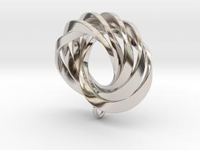 Coradeciem pendant with loop in Rhodium Plated Brass