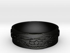 Skull Ring Size 10 in Matte Black Steel