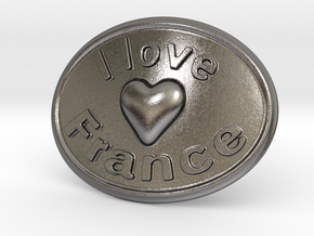 I Love France Belt Buckle in Polished Nickel Steel