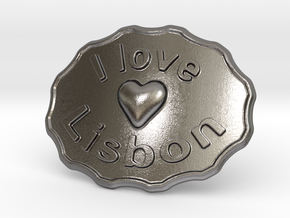 I Love Lisbon Belt Buckle in Polished Nickel Steel