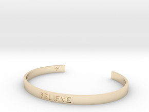 Believe Engrave Bracelet Sizes S-L in 14k Gold Plated Brass: Small