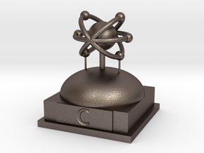 Carbon Atomamodel in Polished Bronzed Silver Steel
