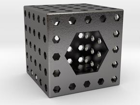 Bottle Opener Cube in Polished Nickel Steel