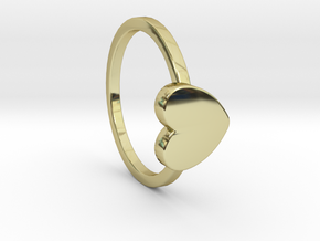 Heart Ring Size 8 in 18k Gold Plated Brass