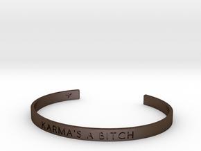 Karma's A Bitch Bracelet S-L in Polished Bronze Steel: Small