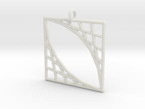 Oblique Grid Pendant in White Natural Versatile Plastic
