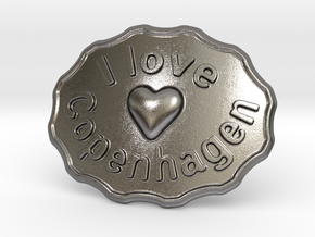 I Love Copenhagen Belt Buckle in Polished Nickel Steel