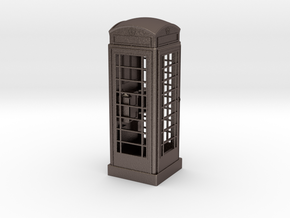 K6 Telephone Box (10cm) in Polished Bronzed Silver Steel