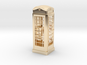 K6 Telephone Box (5cm) in 14k Gold Plated Brass