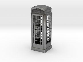 K6 Telephone Box (7.5cm) in Polished Silver
