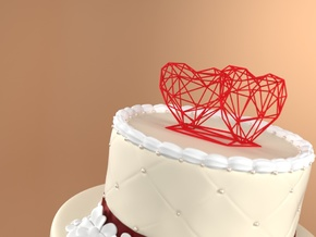 Open 3D Hearts Cake topper in Red Strong & Flexible Polished: Small
