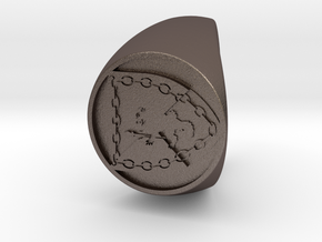 Custom Signet Ring 51 in Polished Bronzed Silver Steel