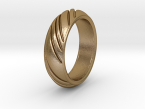 Swirly Ring in Polished Gold Steel: 8 / 56.75