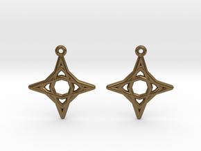 Diamond Star Earrings in Natural Bronze