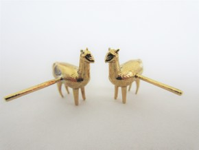 Alpaca Studs in Natural Brass