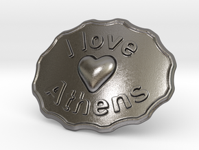 I Love Athens Belt Buckle in Polished Nickel Steel