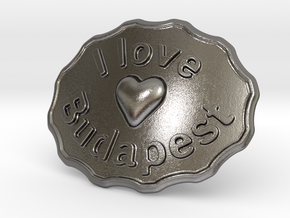 I Love Budapest Belt Buckle in Polished Nickel Steel