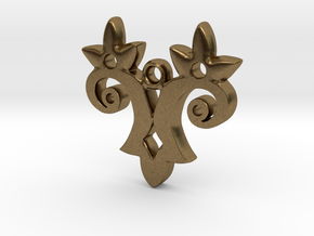 Twin Flower Pendant in Natural Bronze