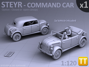 STEYR COMMAND CAR - (1:120) TT in Smooth Fine Detail Plastic