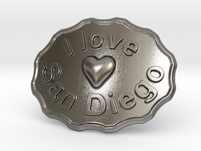 I Love San Diego Belt Buckle in Polished Nickel Steel