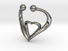 The Heart Fake septum ring nose, ring septum jewel in Polished Silver