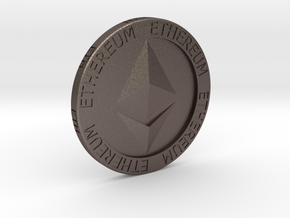 Ethereum Poker Chip/Ball Marker in Polished Bronzed Silver Steel
