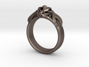 Designer Ring #2 in Polished Bronzed-Silver Steel: 7 / 54