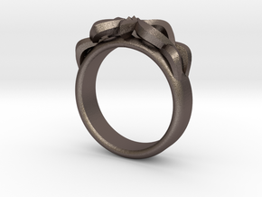 Designer Ring #3 in Polished Bronzed-Silver Steel: 6 / 51.5