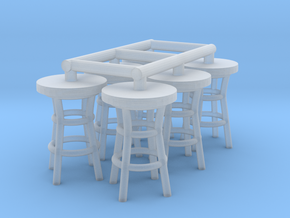 50's soda fountain bar table 01. HO Scale (1:87) in Smooth Fine Detail Plastic