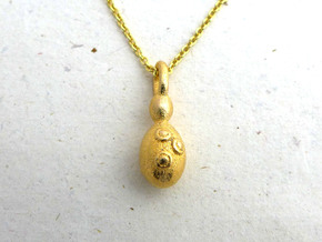 Saccharomyces Yeast Pendant - Science Jewelry in Polished Gold Steel