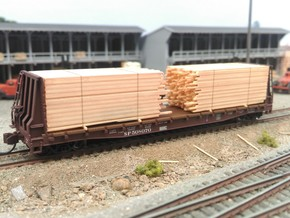 N  Lumber Load For 1 Flat Car: WOT, MTL, Athearn in Frosted Ultra Detail