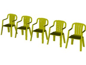 1/35 scale plastic chairs set x 5 in Smooth Fine Detail Plastic