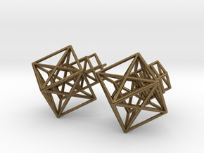 Entangled Hypercube Dangle Earring in Natural Bronze: Large