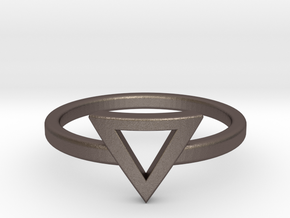 Small Offset Triangle Midi Ring in Polished Bronzed Silver Steel