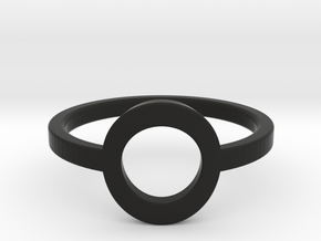 Small Offset Circle Midi Ring in Black Natural Versatile Plastic