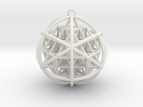Planetary Merkaba Sphere w/ nested 64 Tetrahedron  in White Natural Versatile Plastic
