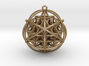 Planetary Merkaba Sphere w/ nested 64 Tetrahedron  in Polished Gold Steel