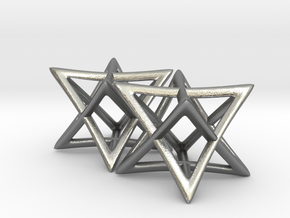 Star of David Earrings in Raw Silver: Small