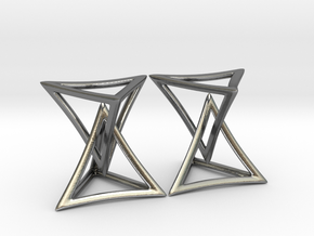 Changing Geometry Earrings in Polished Silver (Interlocking Parts)