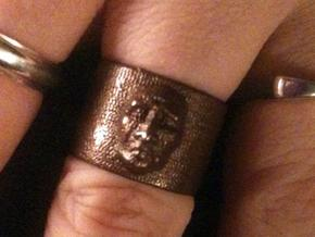 Creepy Face Ring size 9 in Polished Bronzed Silver Steel