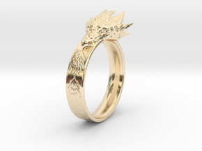 Dragon Ring (Size 8) in 14k Gold Plated Brass