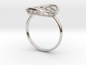 Engagement / Wedding Flower ring RWS000100001 in Rhodium Plated Brass: 10 / 61.5