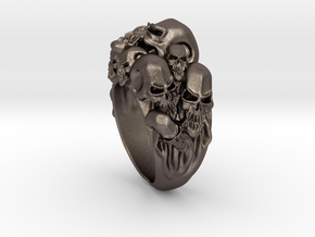 Skull Biker ring RS005000002 in Polished Bronzed Silver Steel: 6 / 51.5