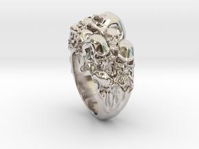 Skull Biker ring RS005000002 in Rhodium Plated Brass: 6 / 51.5