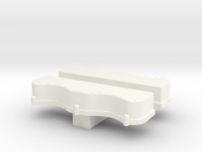 1/24 Scale W-Block Valve Cover Ribbed in White Strong & Flexible Polished