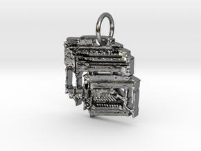 Hammond B3 Organ Pendant/Keyring in Fine Detail Polished Silver